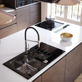 Black kitchen and black accents:  kitchen sink, kitchen taps ...